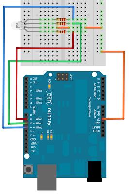 Esquema del montaje del Led RGB en nuestra tarjeta microcontroladora Arduino.