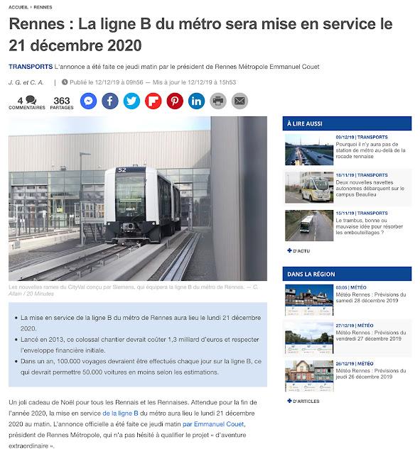 « Rennes : La ligne B du métro sera mise en service le 21 décembre 2020 »  Article du 20 Minutes - Rennes du 12 Décembre 2019