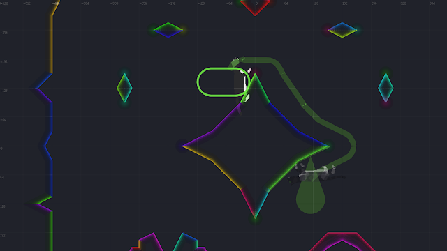A screenshot showing a trajectory path that follows the curvature of oddly-shaped surfaces.