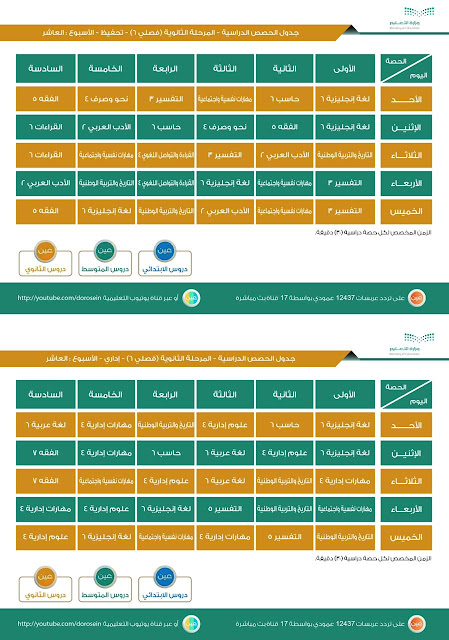 جدول دروس الأسبوع العاشر للمرحلة الثانوية (فصلي) عبر قنوات عين