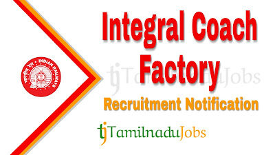 ICF Chennai recruitment notification 2020,  govt jobs in India, central govt jobs, govt jobs for 10th pass, govt jobs for 12th pass, govt jobs for iti,