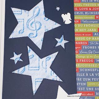Große musikalische Weihnachtskarte mit Noten und Geschenken Stampin' Up! www.eris-kreativwerkstatt.blogspot.de