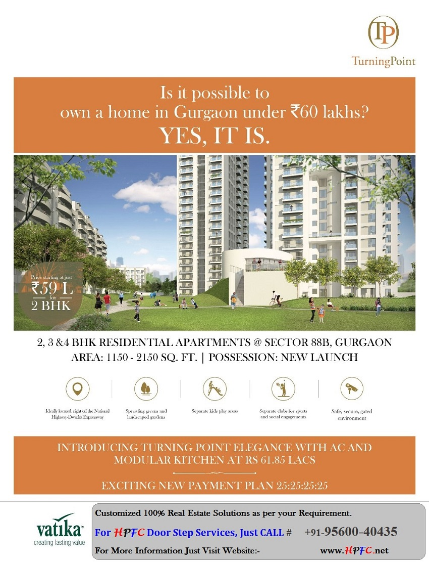 New Launched High Rise Flat & Apartments Vatika Turning Point in Vatika Express City, Sector-88B, Gurgaon (Gurugram)