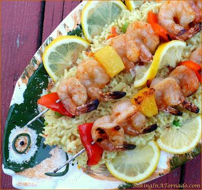 Thai Shrimp Skewers, a quick, light and flavorful summer meal | Recipe developed by www.BakingInATornado.com | #recipe #dinner
