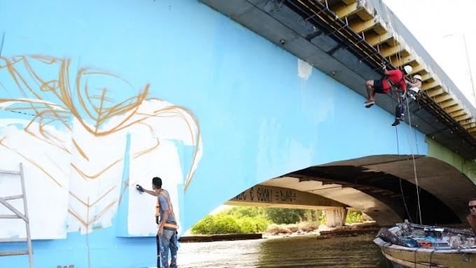 Ponte do Pina ganha vida nas cores da grafitagem do Coletivo Pão e Tinta