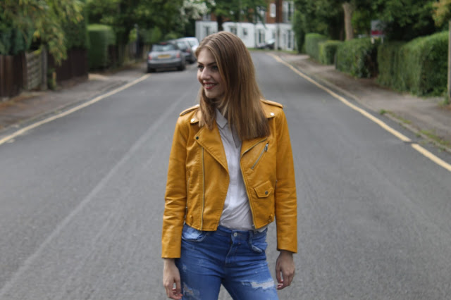 Yellow zara biker jacket