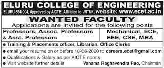 Eluru, Eluru College Of Engineering Professor Assistant Professor Faculty Jobs 2020