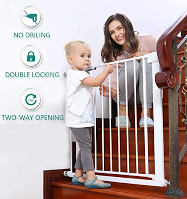 Safe-O-Kid Combo Adjustable Child Safety Barrier/Railing & 1 Multi-Purpose Child Safety Lock with Two Way Auto-Close Safety Gates