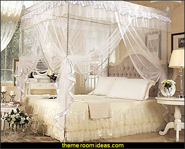 romantic bedroom ideas White Four Corner Square Princess Bed Canopy Mosquito Netting