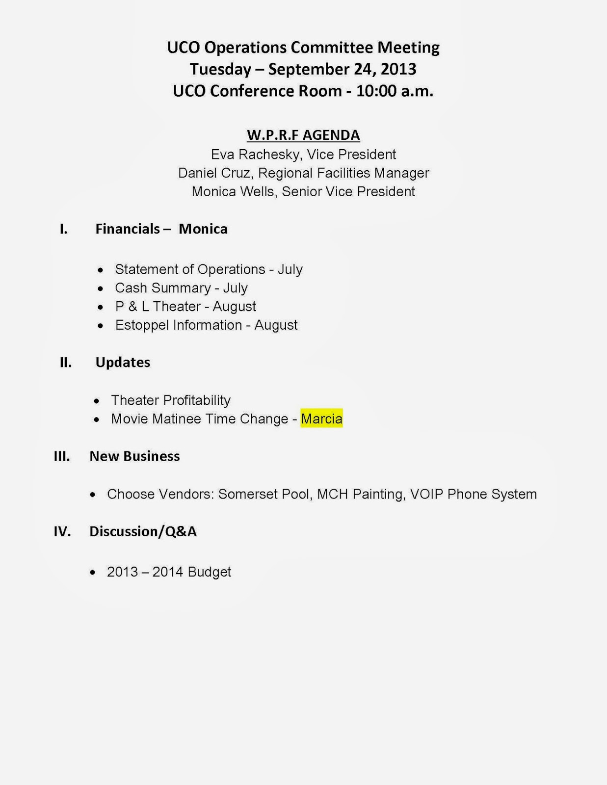 Our Village In West Palm Beach Notice Of Meeting And Agenda .