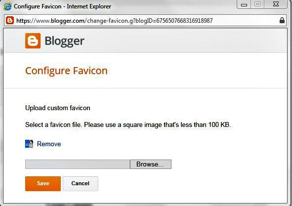 Blogger favicon pop up box