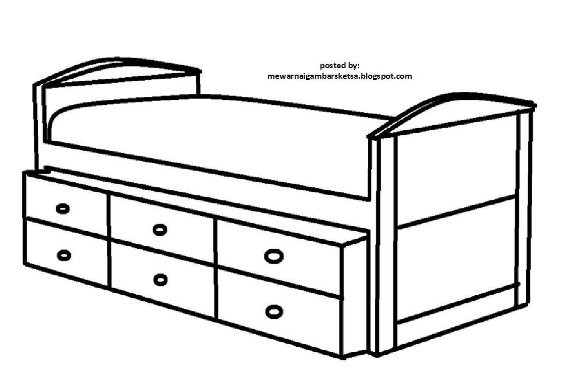 Mewarnai Gambar Mewarnai Gambar Sketsa Ranjang 2
