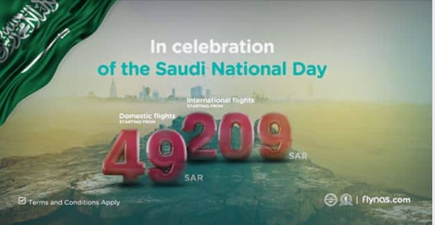 Flynas Saudi National Day Offer on Domestic & International Flights