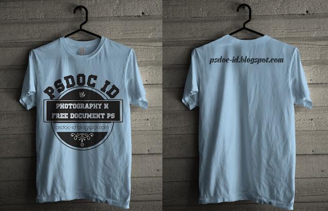 yaitu Pakaian sederhana ringan untuk badan bab atas Mockup T-shirt (Kaos oblong) PSD depan dan belakang