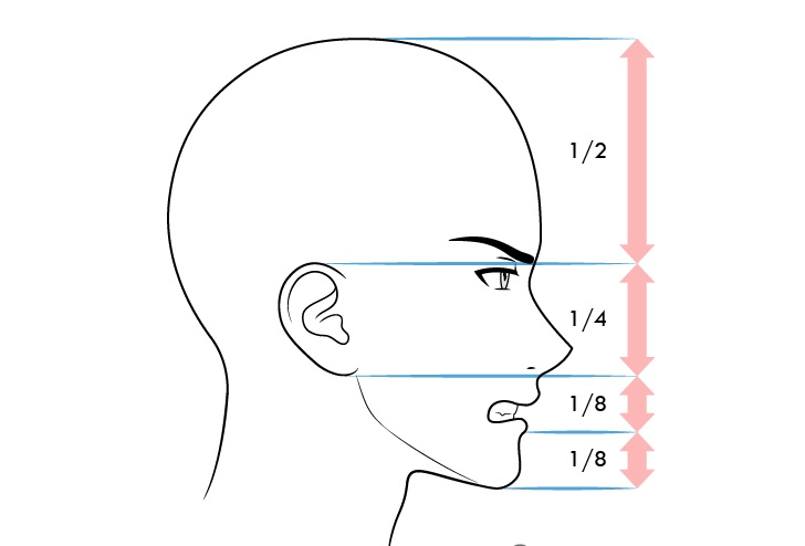 Anime laki-laki wajah proporsi tampilan samping ekspresi marah