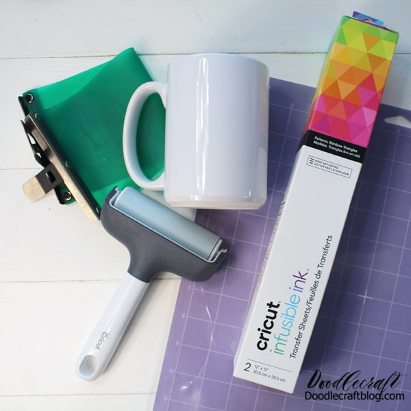 Supplies Needed for Cricut Infusible Ink Mug: Sublimation Mug Cricut Infusible Ink Silicone Mug Wrap Cricut Brayer Cricut Cutting Machine/mat Cricut Heat Resistant Tape Oven