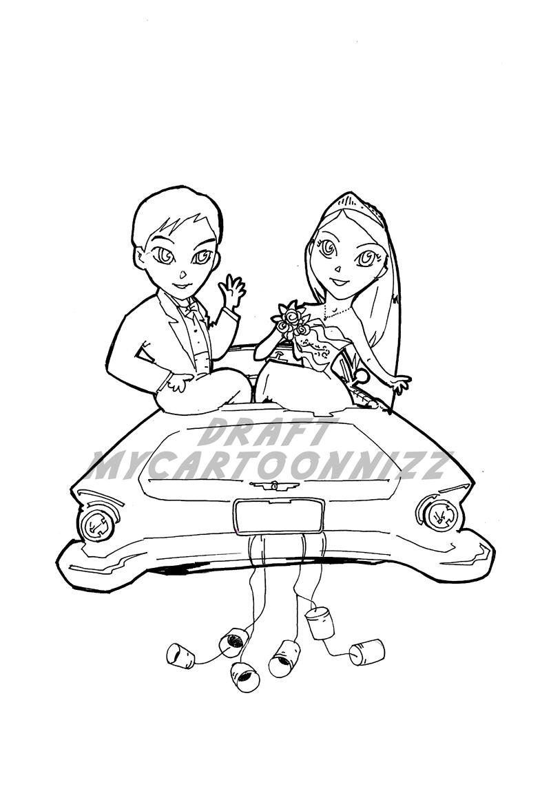 Kumpulan Gambar Kartun Pernikahan Hitam Putih Terbaru Sobponsel