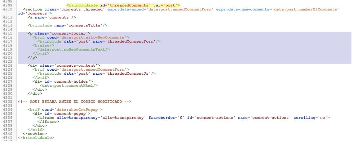 Imagen del código de Blogger después de la modificación