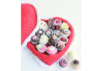 Amigurumi Crochet Heart chocolate box with crochet bonbons