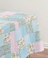 Apple Blossom Faux Patchwork Tablecloth from Zazzle