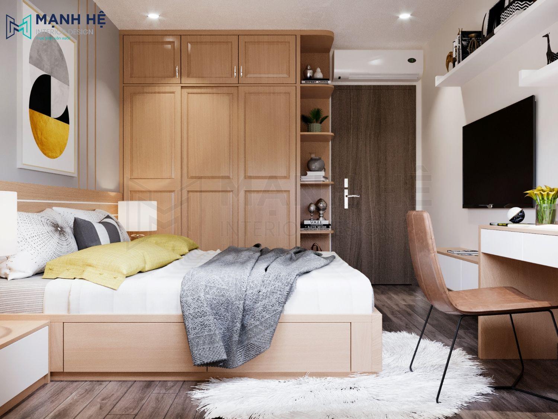 Mẫu Thiết kế phòng ngủ 12m2 bằng gỗ sồi tự nhiên