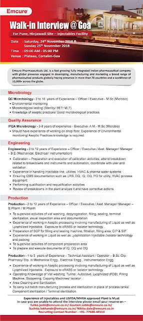Emcure Pharma Walk In Interview For Quality Assurance, Microbiology, Engineering, Production at 24 November