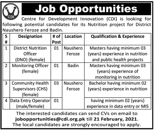 Centre for Development Innovation CDI Sindh Jobs 2021