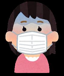 マスクを付けた人の表情のイラスト(女性・ショックを受けた顔)