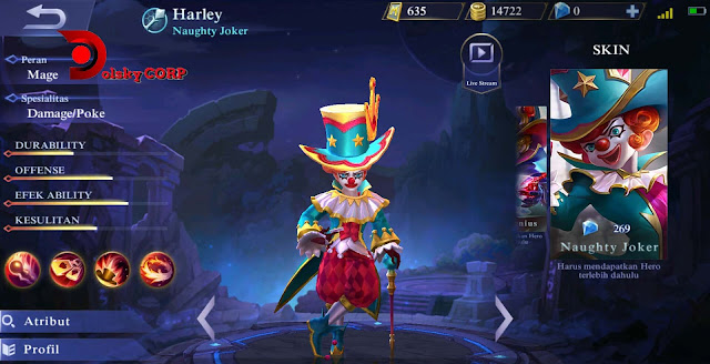 Mobile Legends : Hero Harley ( Naughty Joker ) High Damage Builds Set up Gear