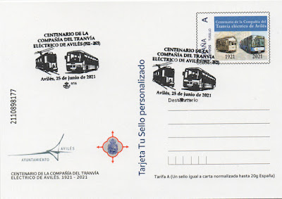 tarjeta, tu sello, sello, enteropostal, Avilés, tranvía, filatelia