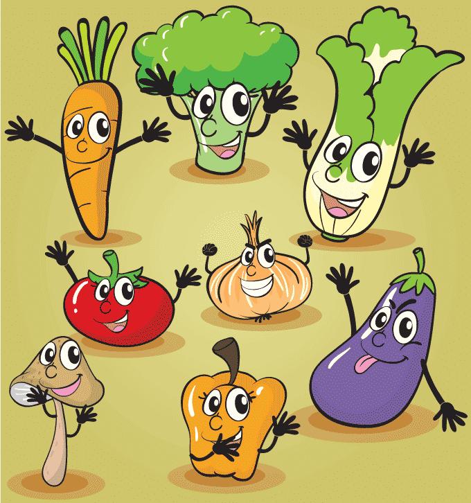 Alegres y divertidas verduras tipo cartoon