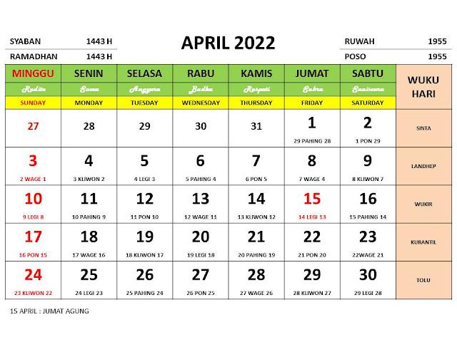 Kalender Bulan April 2022 dan Hari Peringatannya