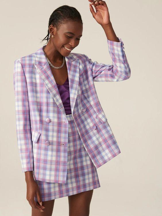 Purple plaid suit