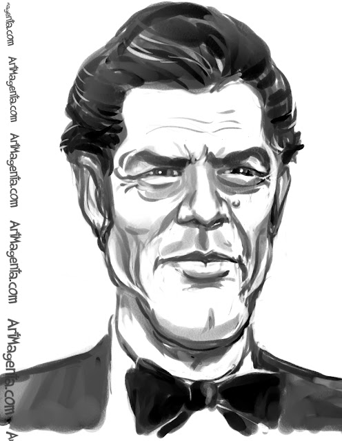 Roger Moore caricature cartoon. Portrait drawing by caricaturist Artmagenta.