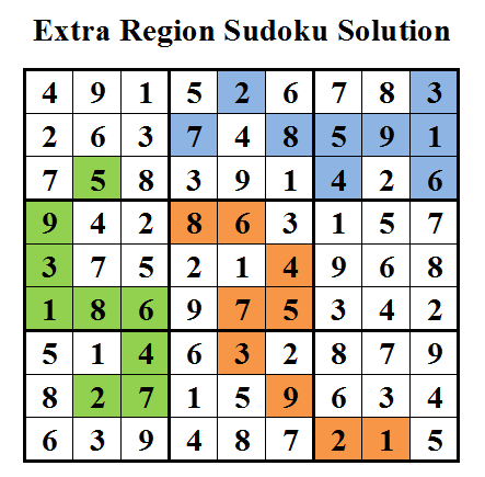 Extra Region Sudoku (Daily Sudoku League #26) Solution