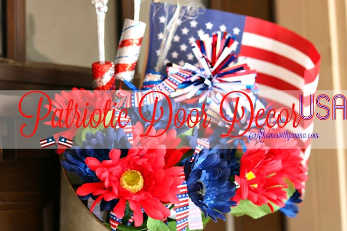 DIY Red White and Blue Door Decor