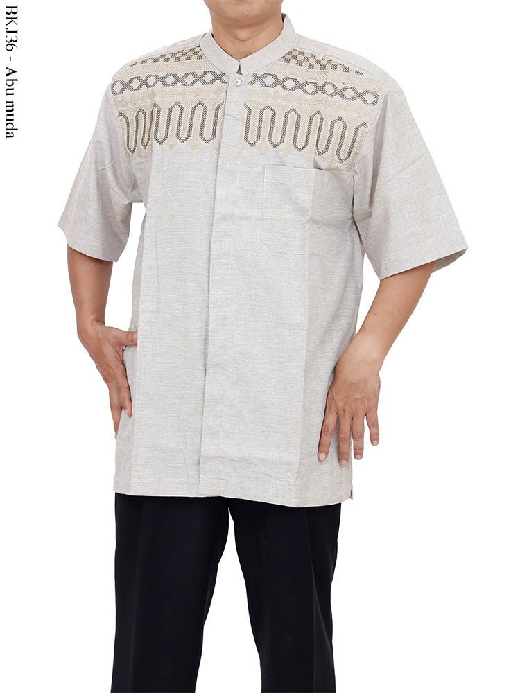 BK576 Baju Koko Eksklusif Jeans Bordir Albatar - Jubah Toko