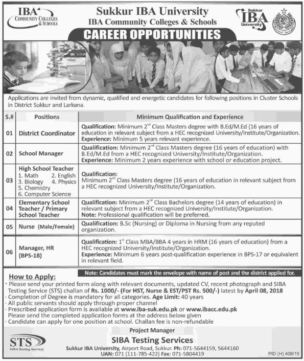 Advertisement for Sukkur IBA University Jobs