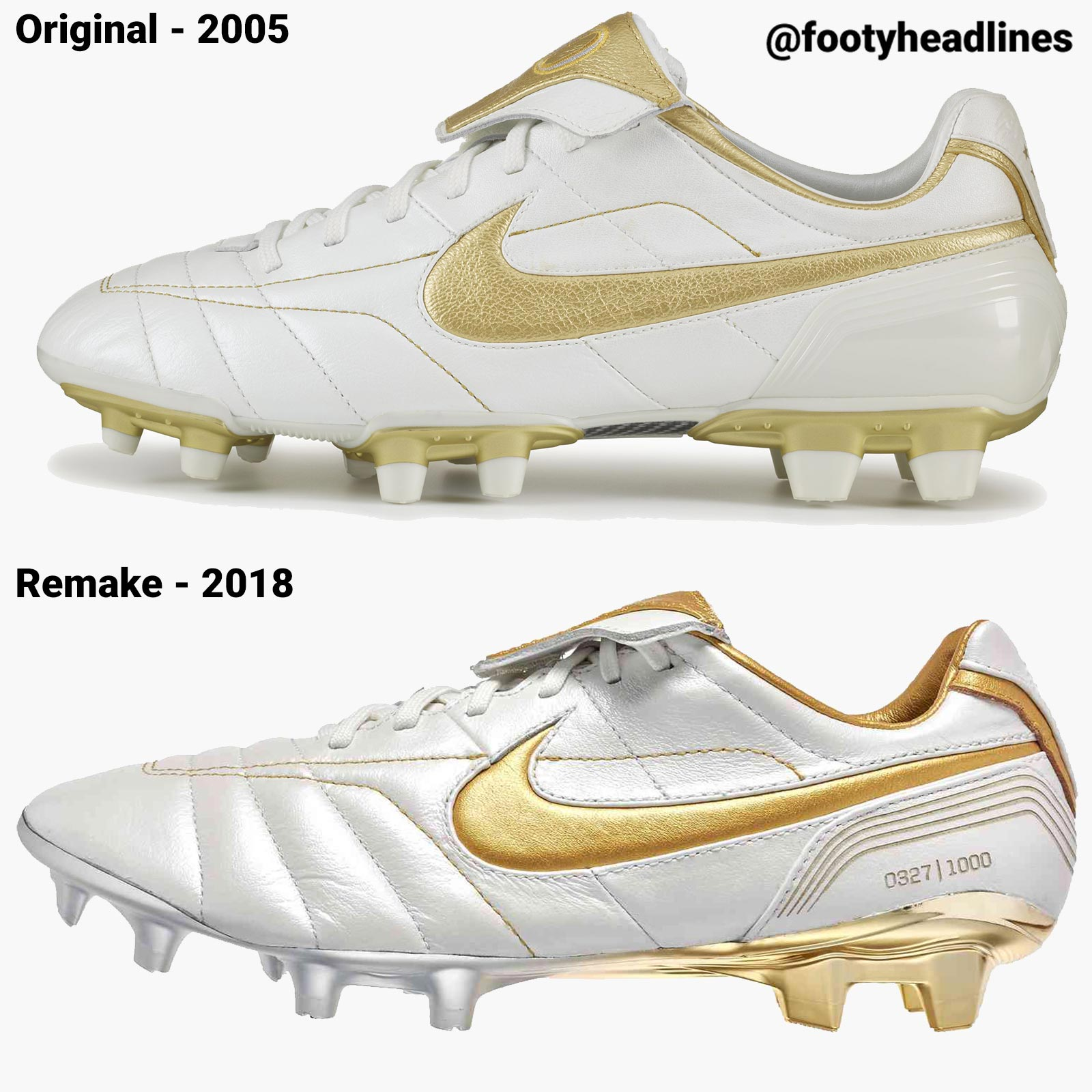 huge discount d87fb cf707 Nike Air Legend Tiempo Ronaldinho - 2018 Remake vs 2005 ...