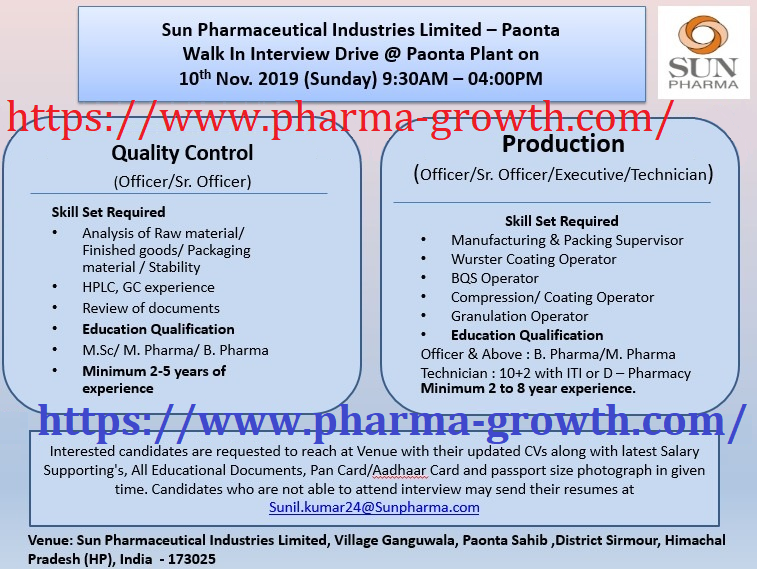 Sun Pharmaceutical Industries Ltd – Walk-In Interview for Multiple Positions in QC & Production on 10th Nov' 2019