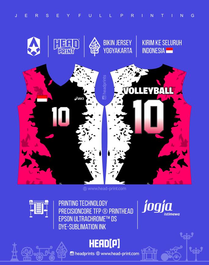 Pink Hitam Putih Jersey Voly Volley Desain Jersey Voly - Badminton Jersey - Futsal Jersey - Headprint Yogyakarta