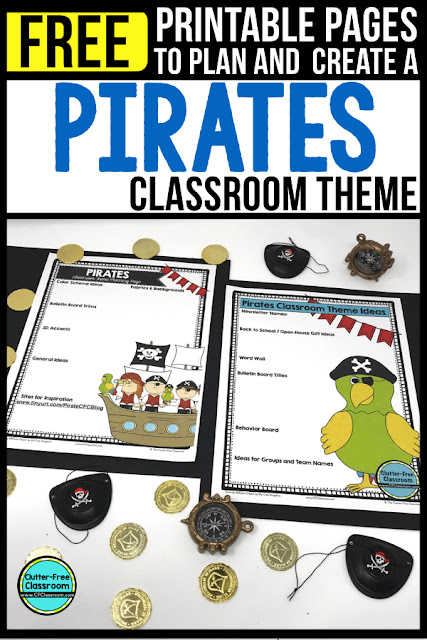 PIRATE Theme Classroom: If you're an elementary teacher who is thinking about a pirate theme then this classroom decor blog post is for you. It'll make decorating for back to school fun and easy. It's full of photos, tips, ideas, and free printables to plan and organize how you will set up your classroom and decorate your bulletin boards for the first day of school and beyond.