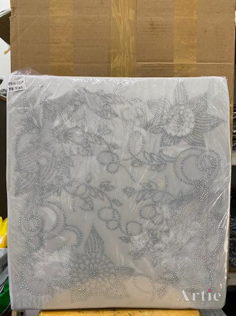 Hotfix stickers dmc rhinestone aplikasi tudung bawal fabrik pakaian 2 bunga raya silver