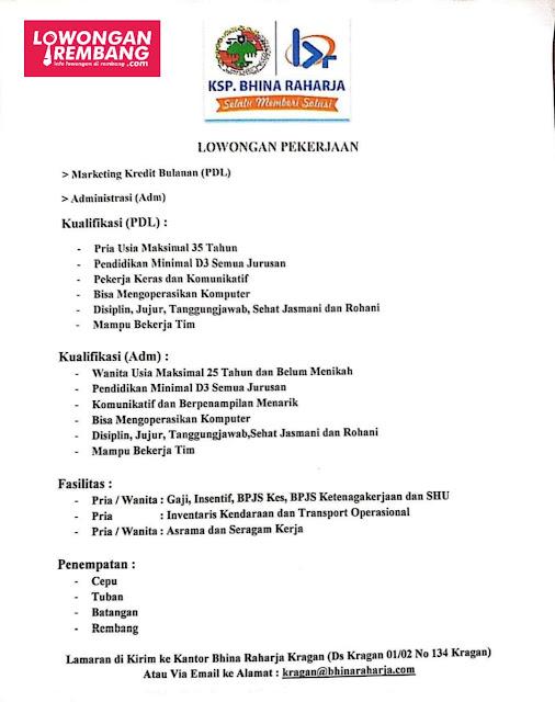 Lowongan Kerja KSP Bhina Raharja Penempatan Rembang dan Sekitarnya