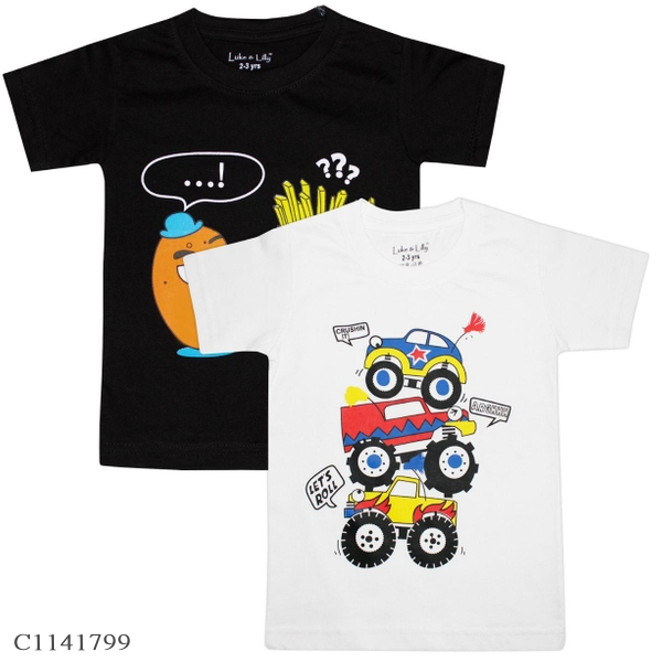 2 to 8 Years Old Boys Printed T-shirts Buy 1 Get 1 Free   Boys T-shirt Online Shopping   T-shirt For Boys Online  