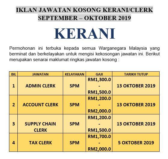 Jawatan Kosong Kerani Pengambilan September - Oktober 2019