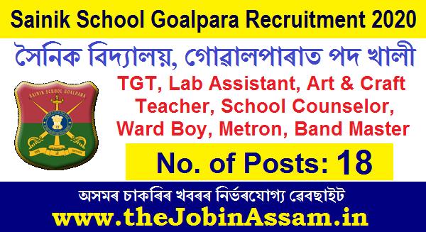 Sainik School Goalpara Recruitment 2020: