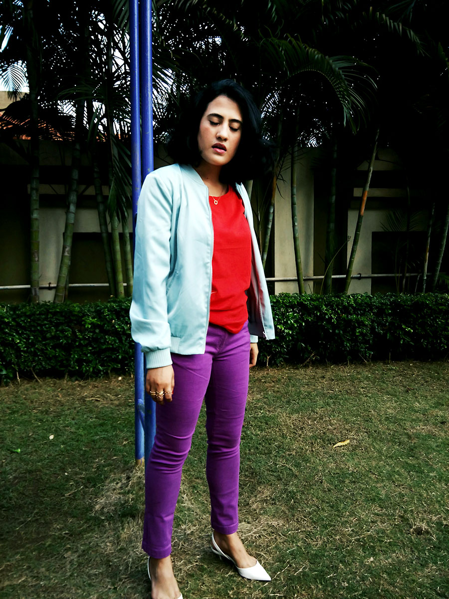 red t-shirt, zara bomber jacket ,purple denims, style blogger