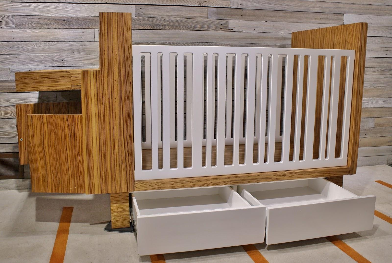 Modwerks Modern Zebra Wood Crib And Changing Table Set