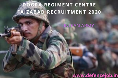 Dogra Regiment Centre Faizabad Recruitment 2020